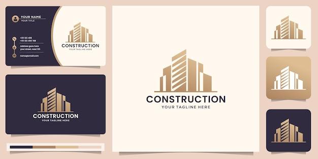건설 영감 로고 디자인 및 명함입니다. 건축, 혁신, 건물 로고.