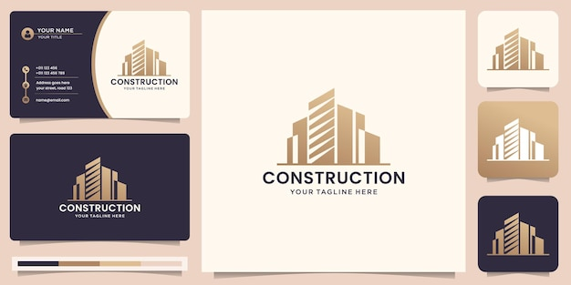 Construction inspiration logo design and business card. architectural, renovation, building logo.