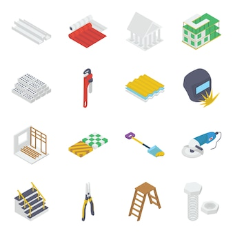 Construction instrument isometric icons pack