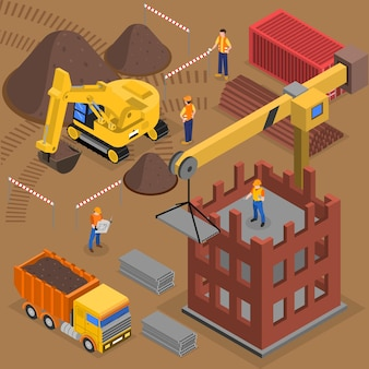 Construction isometric composition with  building machinery workers and crane near high rise block under construction