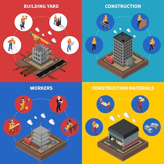 Construction isometric concept icons set