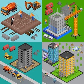 Il concetto di progetto isometrico della costruzione con la vista dei cantieri e delle case ai punti differenti della costruzione vector l'illustrazione