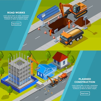 Construction isometric horizontal banners
