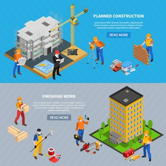 Construction isometric set of two horizontal banners with building images editable text and read more button
