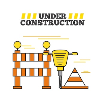Under construction jackhammer barrier and cone traffic warning
