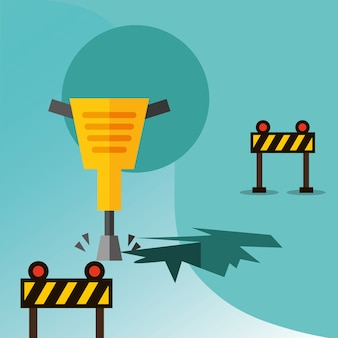 Construction jackhammer drilling and barriers traffic equipment vector illustration