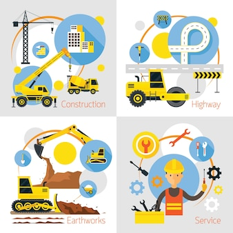 Construction label concept set, earthworks, highway, service