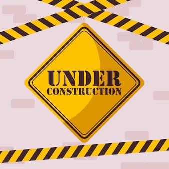 Under construction label with caution tape