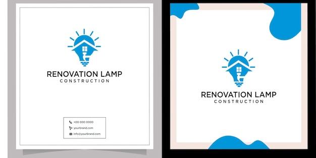Construction lamp renovation logo design