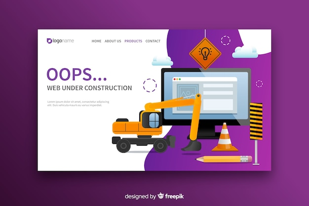 Under construction landing page flat design