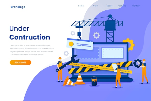 Under construction landing page illustration template.