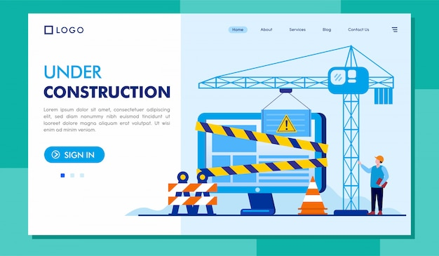 Under construction landing page website illustration