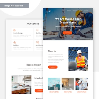 Construction landing page .