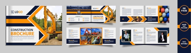 Construction landscape brochure design with geometric yellow and blue color shapes on a white background.