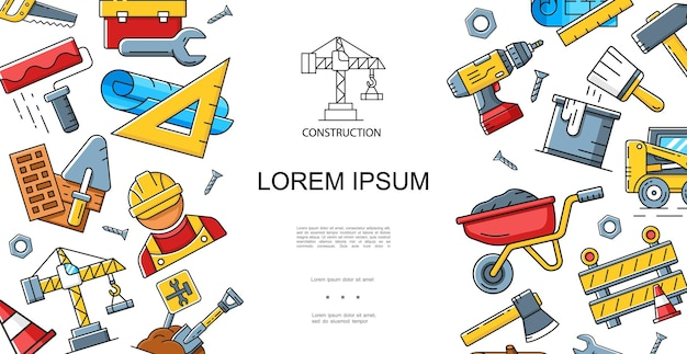 Construction linear style concept with builder roller brush shovel wrench trolley hammer drill axe ruler crane saw toolbox screws vehicle   illustration