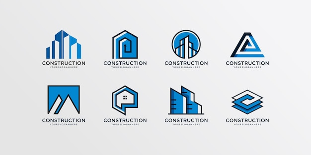 Коллекция логотипов строительства, модерн, концепция, градиент, недвижимость, premium векторы