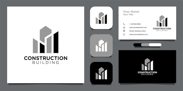 Construction logo design with building and business card