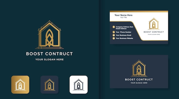 Construction logo rocket house line logo and business card