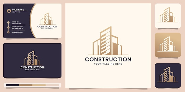 Construction logo template. architects, layouts, modern buildings, for companies in the field of building and architects, logo design inspiration with business card. premium vector