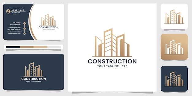 건설 로고 템플릿입니다. 건축가, 레이아웃, 현대적인 건물, 건물 및 건축가 분야의 회사를 위한 명함으로 로고 디자인 영감. 프리미엄 벡터