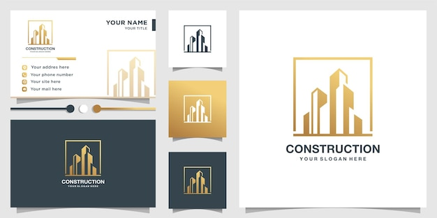 Construction logo template and business card