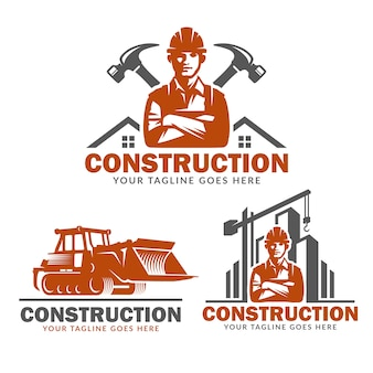 Construction logo template set, vector pack of construction logo