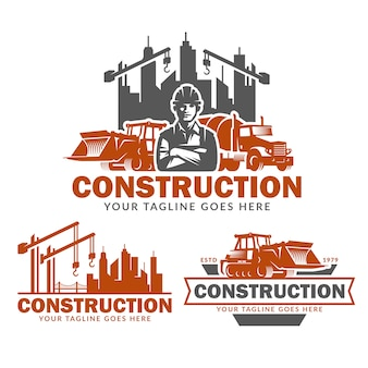 Набор шаблонов логотипа строительства, векторный пакет логотипов строительства Premium векторы