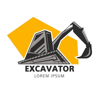 Construction logo template with excavator