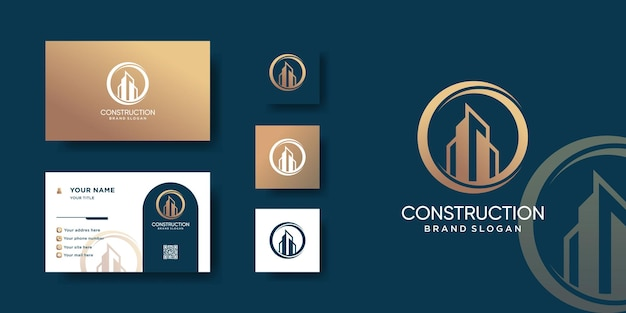 Construction logo with modern creative concept and business card design