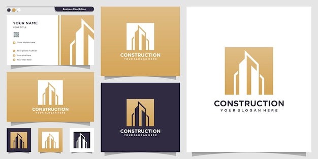 Construction logo with silhouette style and business card design template, logo template, building logo, real estate
