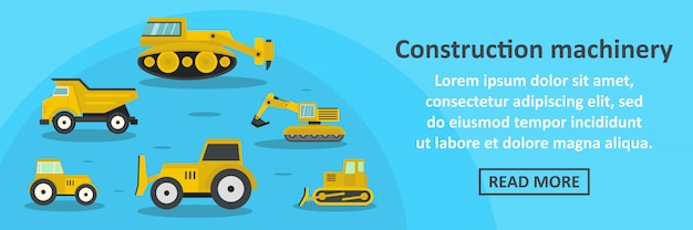 Construction machinery banner template horizontal concept