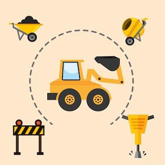 Construction machinery excavator jackhammer barrier and concrete mixer tools equipment vector illust