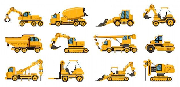건설 기계. 무거운 도로 장비 트럭, 지게차 및 트랙터, 발굴 크레인 트럭 그림을 설정합니다. 장비 운송 공사, 산업용 크레인