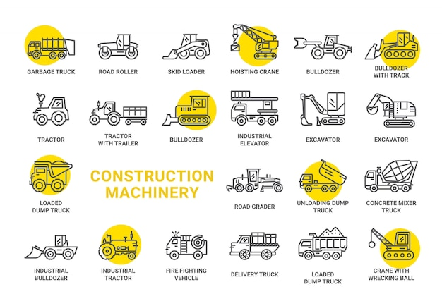 Construction machinery icon collection