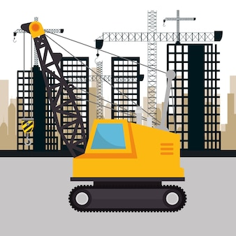 Under construction machinery icon vector illustration design