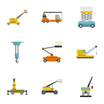 Construction machinery icons set, cartoon style