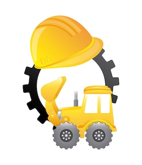 Construction machinery isolated icon design