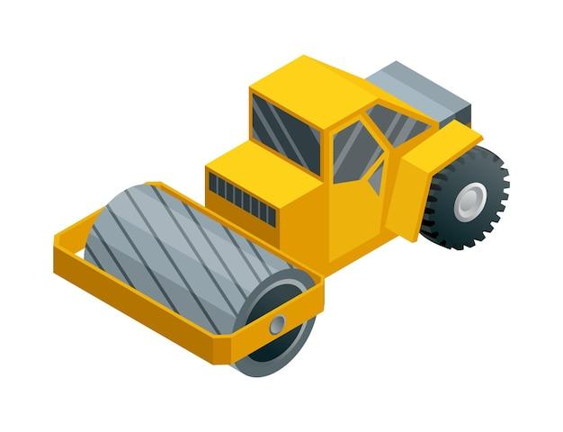 건설 기계 아이소 메트릭. 무거운 수송. 무거운 도로 산업을 나타내는 아이콘