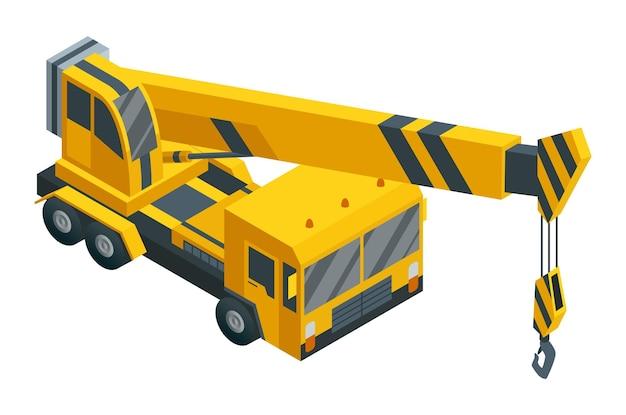 建設機械は等尺性です。重い輸送。重道路産業を表すアイコン