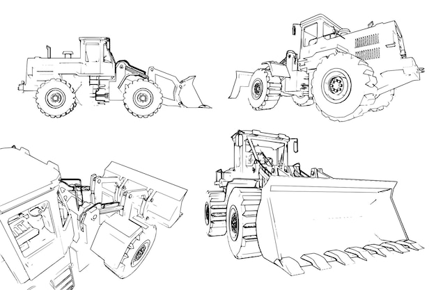 Construction machinery loader a lot of vector images from different angles