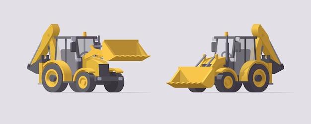 Комплект строительной техники. экскаваторы-погрузчики. иллюстрация. коллекция