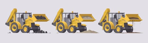 Комплект строительной техники. экскаваторы-погрузчики с камнями, песком, грязью. иллюстрация. коллекция