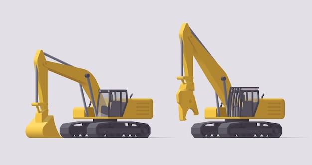 Комплект строительной техники. землеройный экскаватор и экскаватор для сноса. иллюстрация. коллекция