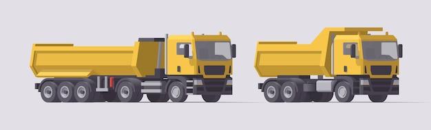 建設機械セット。ダンプトレーラー付きのダンプトラックとトラクター。図。コレクション