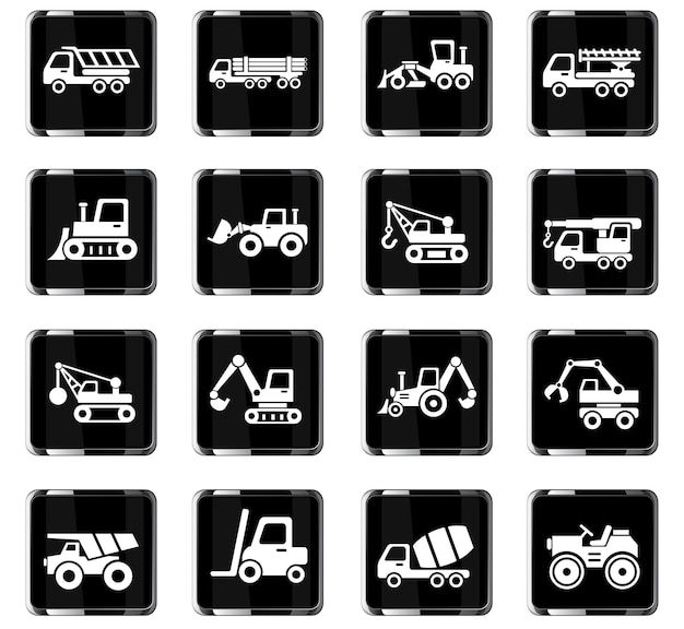Construction machinery web icons for user interface design
