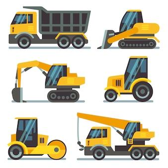 Construction machines, heavy equipment, construction vehicles flat vector icons. excavator and crane
