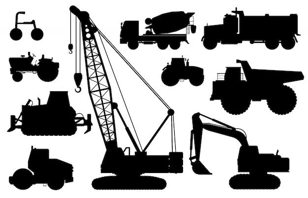 建設機械のシルエット。建設作業用の重機。孤立したクレーン、掘り、トラクター、ダンプトラック、コンクリートミキサー車フラットアイコンセット。産業建設輸送側面図