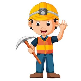 Construction man holding axe