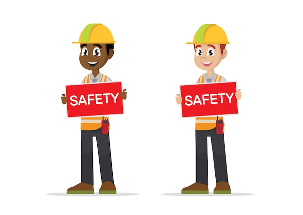 Construction man showing safety sign