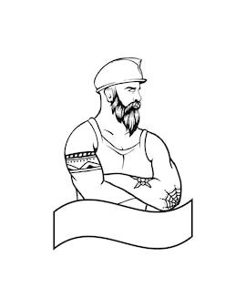 建設男のタトゥー